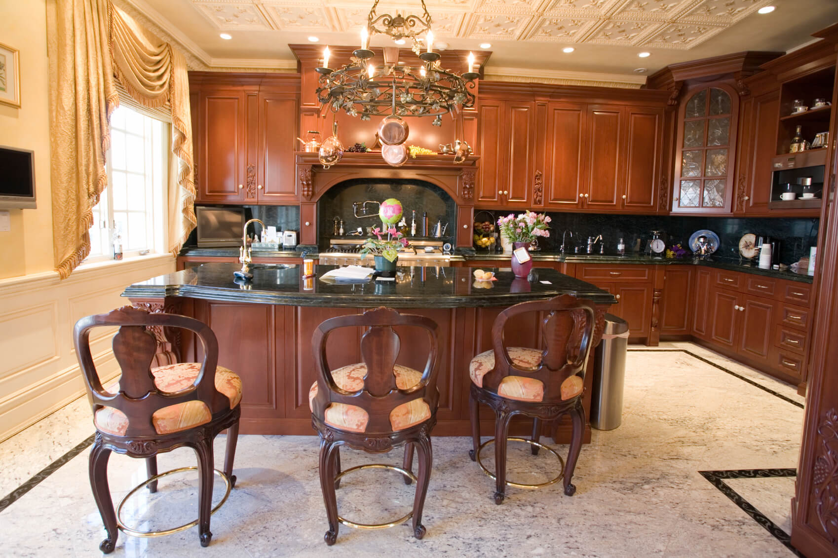 This Dark Wood Kitchen Features Matching Large Island With Black Marble Countertop Complete Second