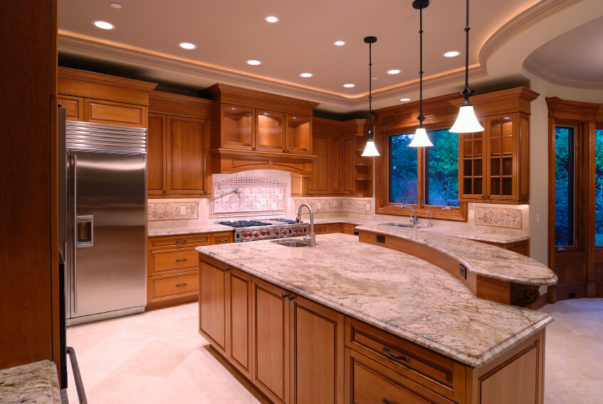 Array Of Recessed Lighting In The Raised Ceiling Of This Kitchen Highlight  Large Two Tiered