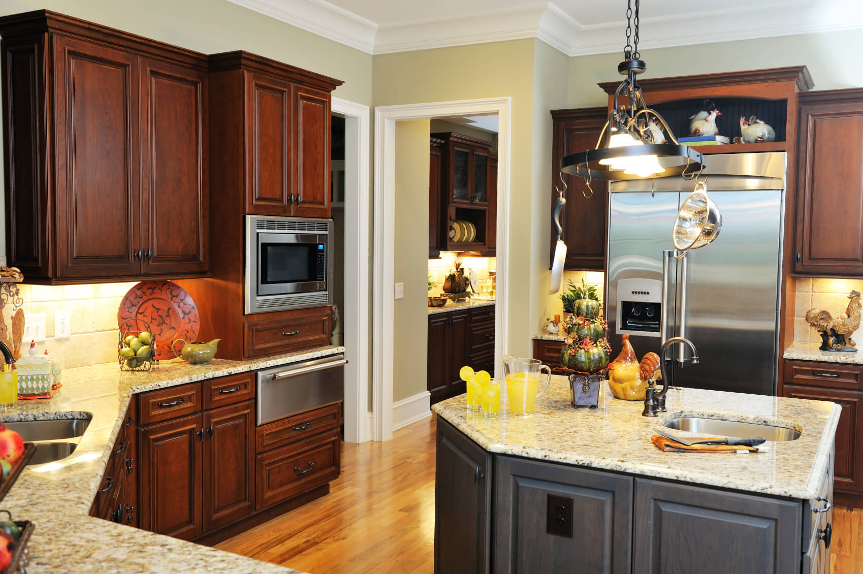 Dark Kitchens With Dark Wood And Black Kitchen Cabinets - Brown and black kitchen designs