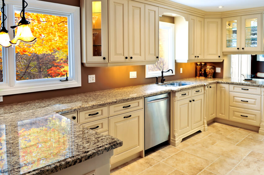 Bright  welcoming tones throughout this kitchen  beige tile flooring with  near matching cabinetry. 41 Luxury U Shaped Kitchen Designs   Layouts  Photos