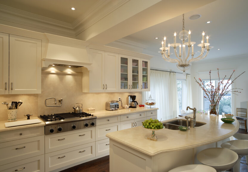 Another Ornate White Kitchen This Example Features Marble Topped Island With Built In Sink