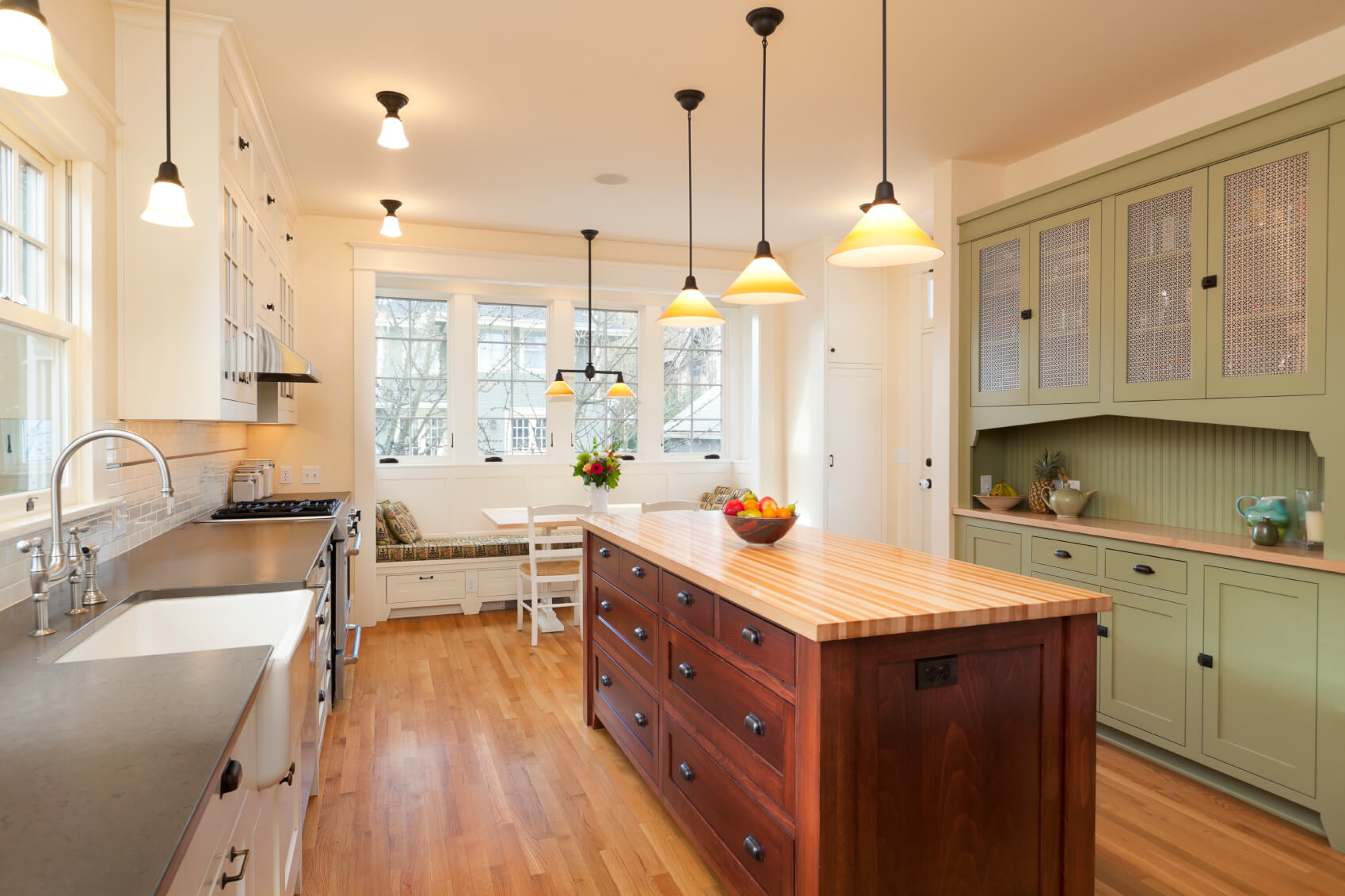 i include this kitchen in our galley kitchen photo gallery because the end is a long - Galley Kitchen Design Ideas