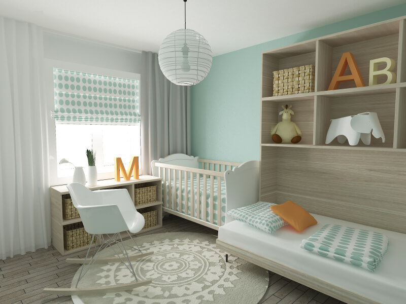 mint green walls and polka dot sheeting and window shade unify this nursery featuring - Baby Room Ideas Unisex