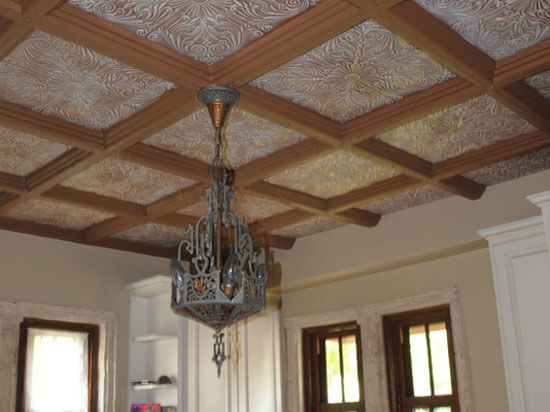 kitchen with wood beam and styrofoam ceiling - Decorative Ceiling Tiles