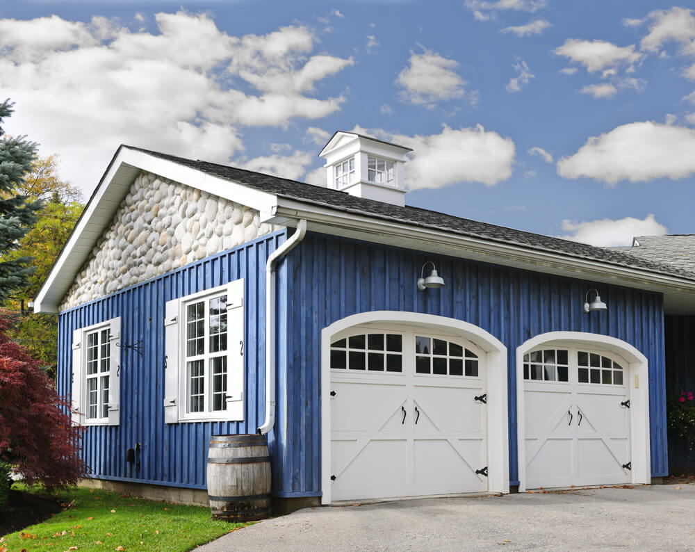 60 residential garage door designs pictures for How big is a two car garage door
