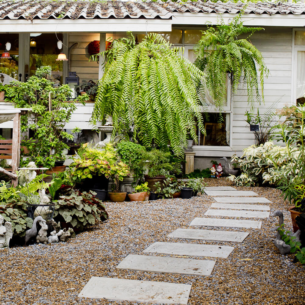 Concrete Front Yard Landscaping: 65 Walkway Ideas & Designs (BRICK, FLAGSTONE & WOOD
