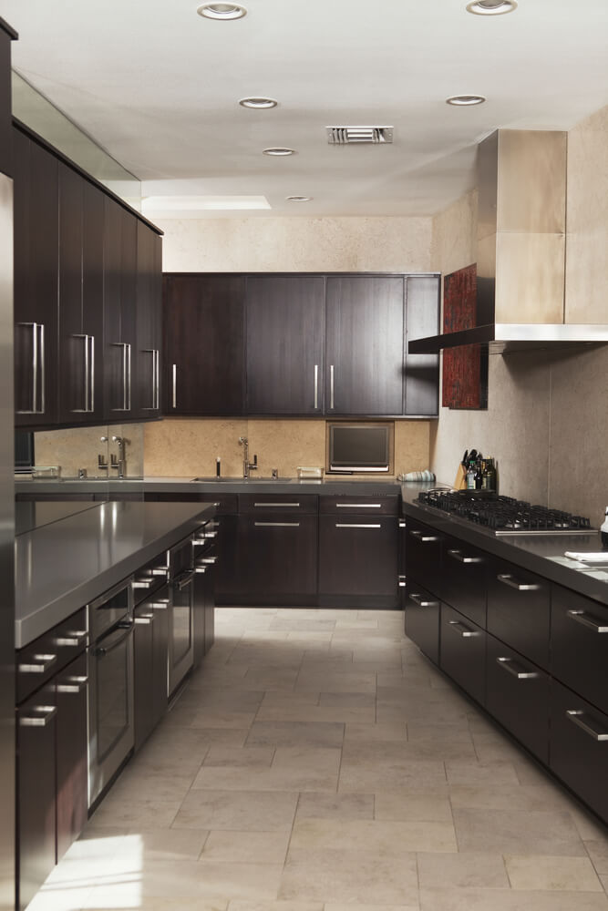 Dark Kitchen Cabinets With Medium Dark Wood Floors
