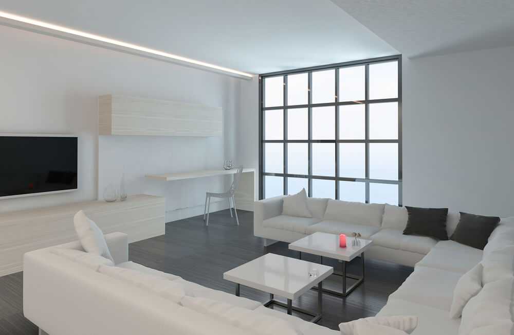 Nearly All White Living Room Features Immense U Shaped Sectional Sofa With  Track Arms