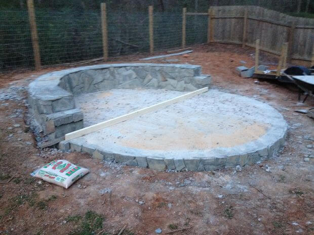 Mortar Fire Pit : How to build a fire pit with circular wrap around veneer patio