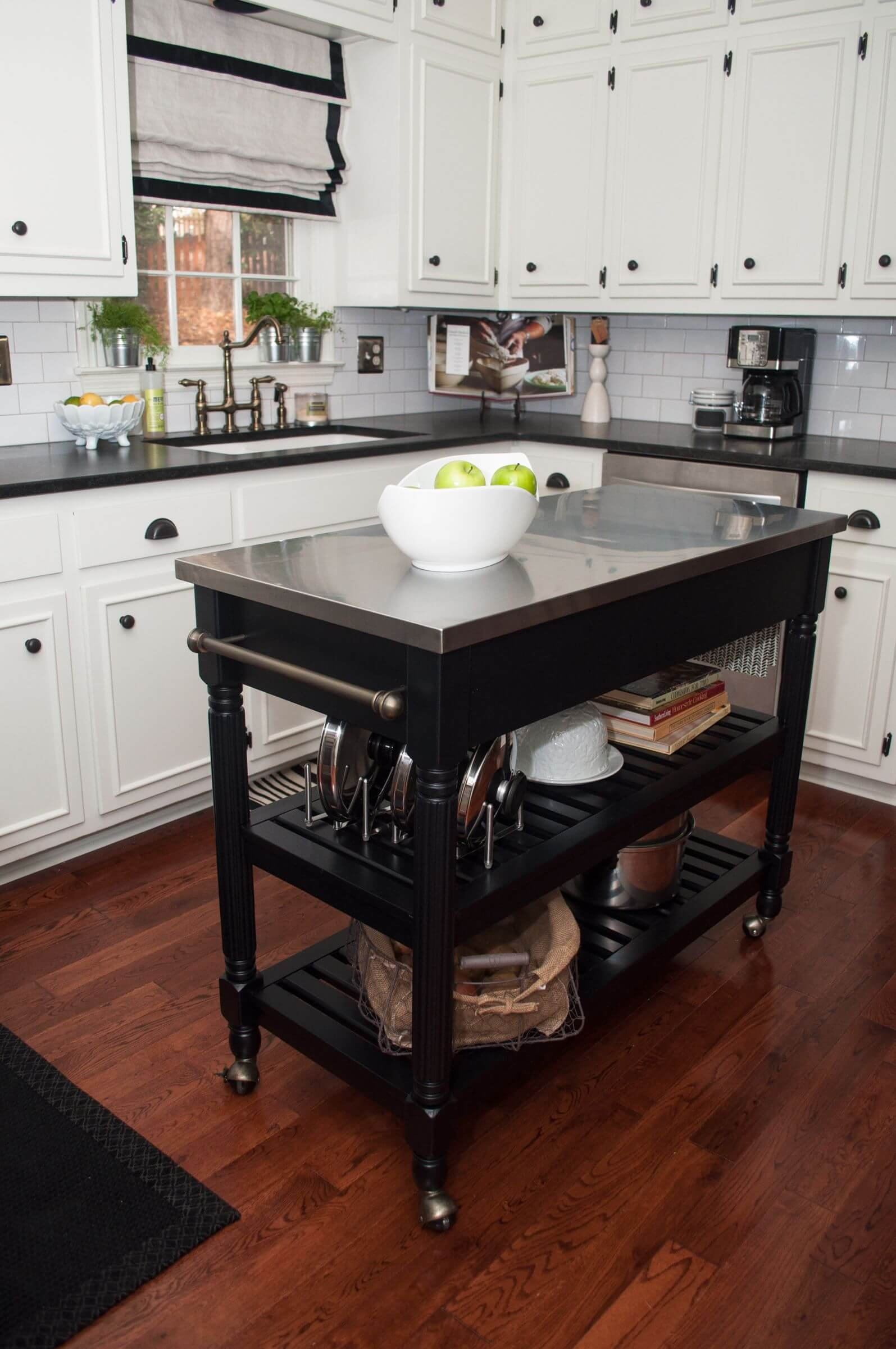 Elegant White Kitchen With Dark Portable Kitchen Island On Wheels