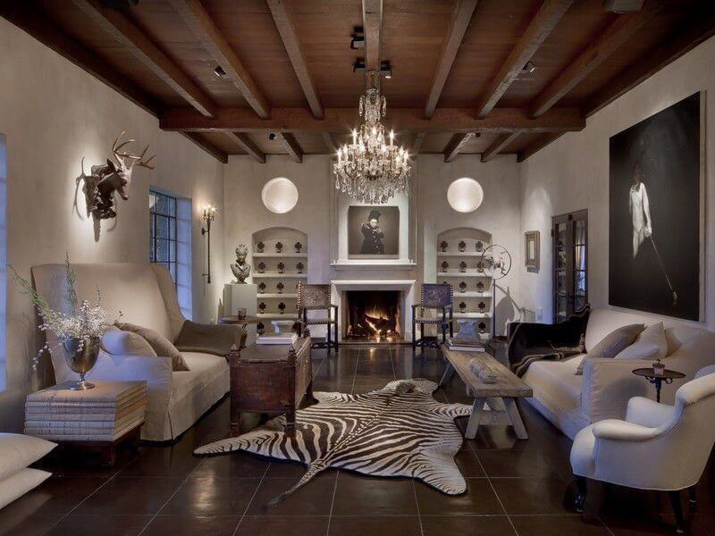 Large Living Room With Dark Brown Tile Floor On Which A Large Zebra Skin Is  Placed