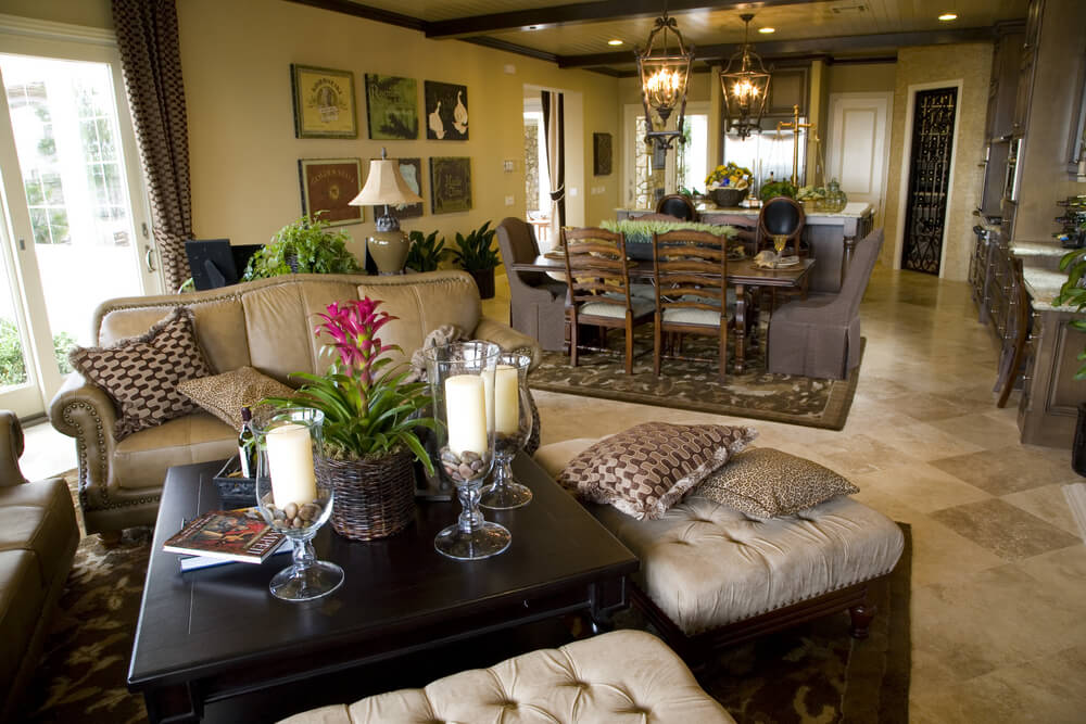 47 beautiful living rooms with ottoman coffee tables Kitchen table in living room