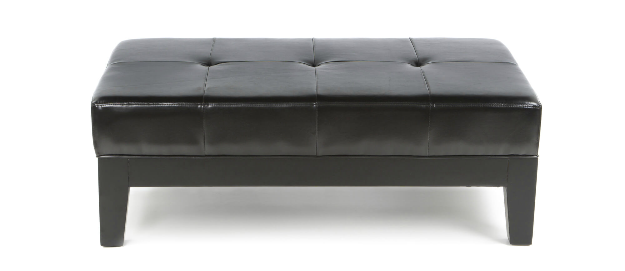 this dark leather bench seating ottoman from wholesale interiors features a broad button tufted cushion