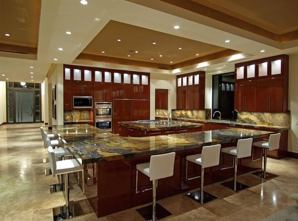 the kitchen is situated in a large open concept living area the entire outer counter - Large Kitchen Layouts