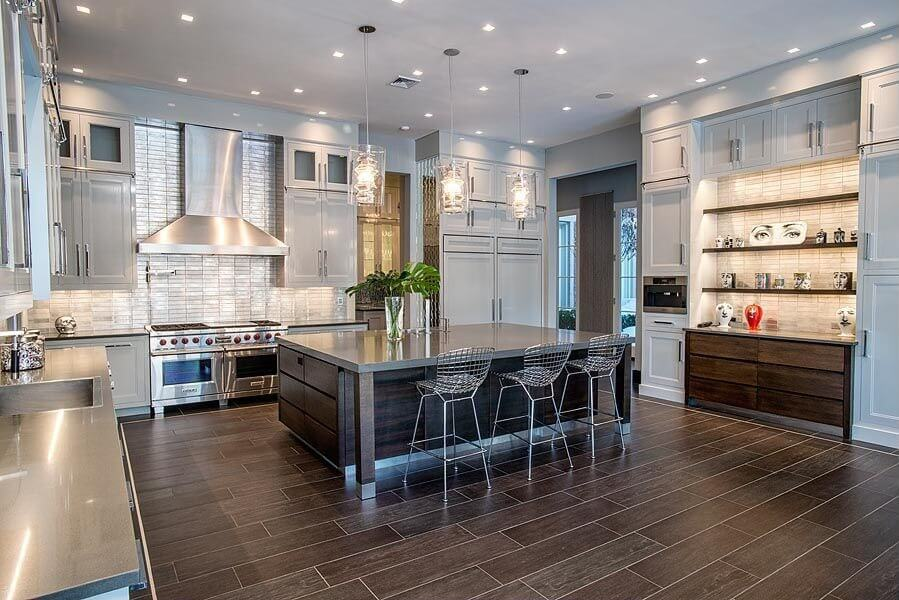 Contemporary kitchen design in light grey and dark brown and plenty of
