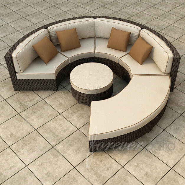 Circular, Conversational Patio Sectional Pairs Brightly Toned Thick Padded  Cushioning With Dark Resin Wicker Construction .