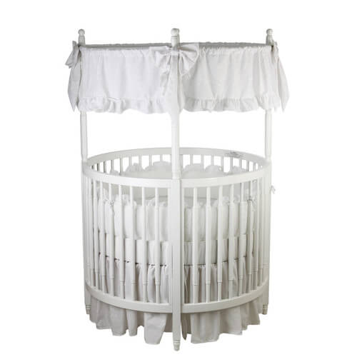 circular crib comes in all white solid wood construction, with round ...