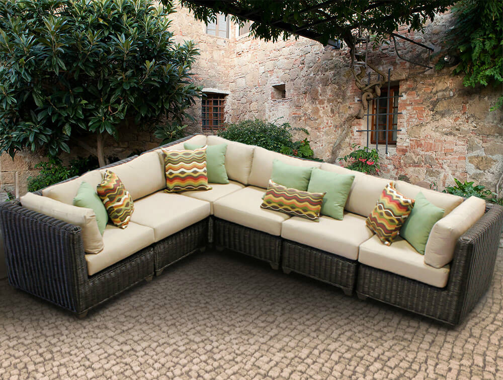 patio couch set l shaped resin wicker patio sectional in dark brown and beige cushioning features multiple cubic