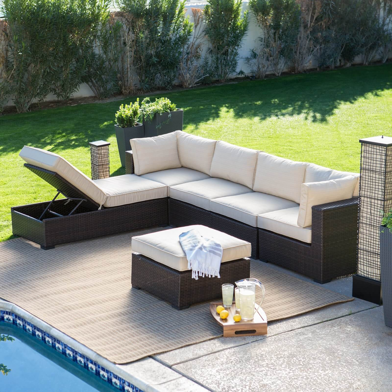 lengthy patio sectional features standard sofa shape plus chaise lounge section with movable backrest