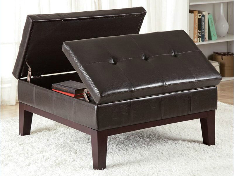 This square, button tufted leather ottoman from Coaster features  dual-hinged opening with interior .