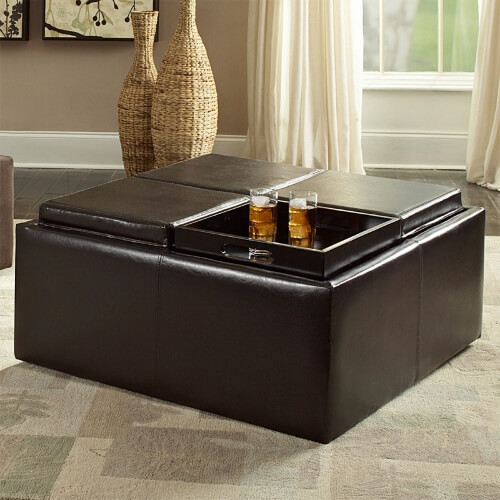 Ottoman Coffee Table With Sliding Wood Top: 36 Top Brown Leather Ottoman Coffee Tables