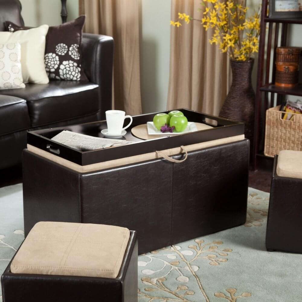 This ottoman hybrid not only flips its cushioned lid to reveal a portable  tray table,