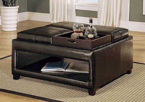 This Versatile Brown Ottoman Features Tufted Leather Cushion Lid