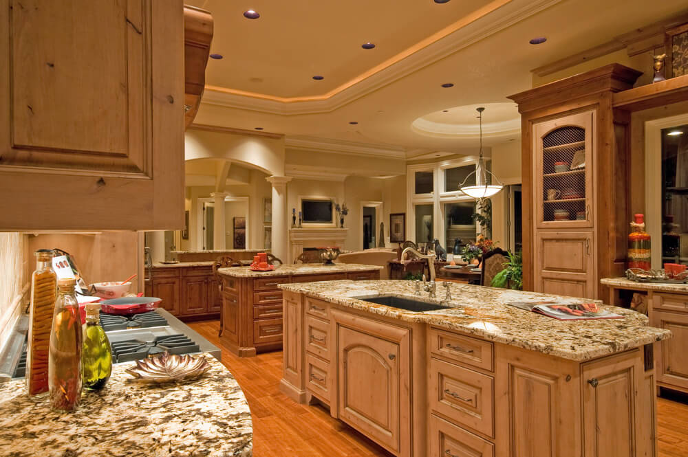 Spacious Mediterranean Custom Kitchen Design.