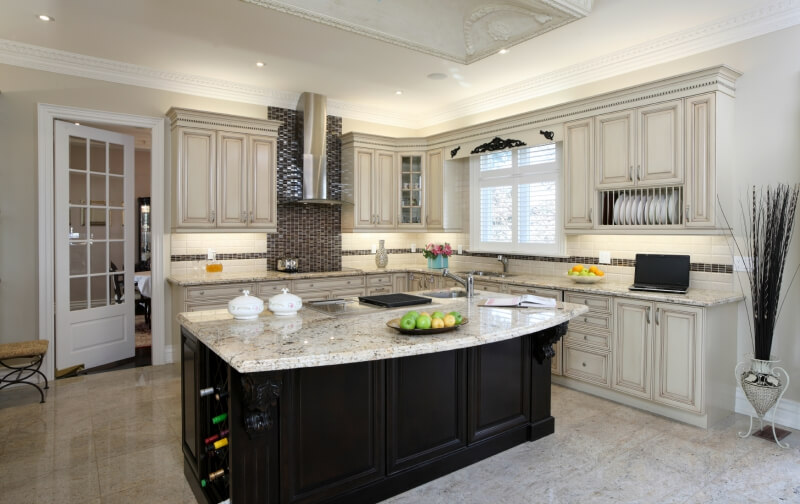 Captivating Kitchen With Black Island And White Cabinets