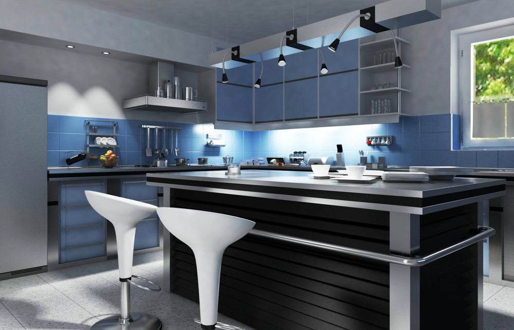 black and stainless kitchen modern kitchen with black island amidst blue cabinets and gray walls