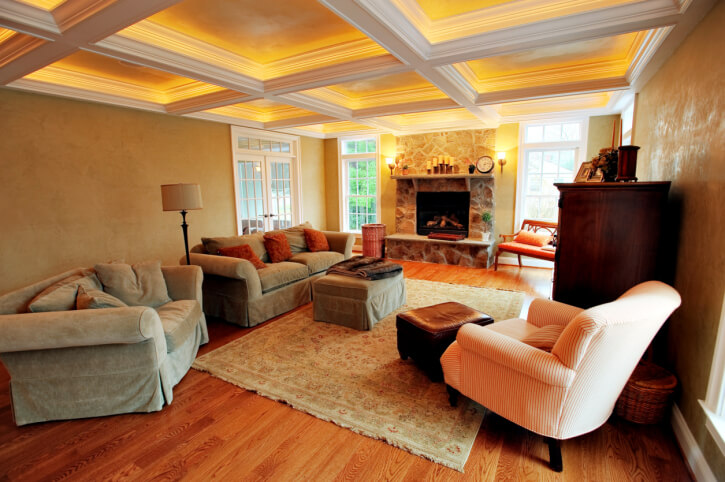 Amazing This Cozy, Warm Toned Living Room Features Rich Hardwood Flooring, Stone  Fireplace Flanked By