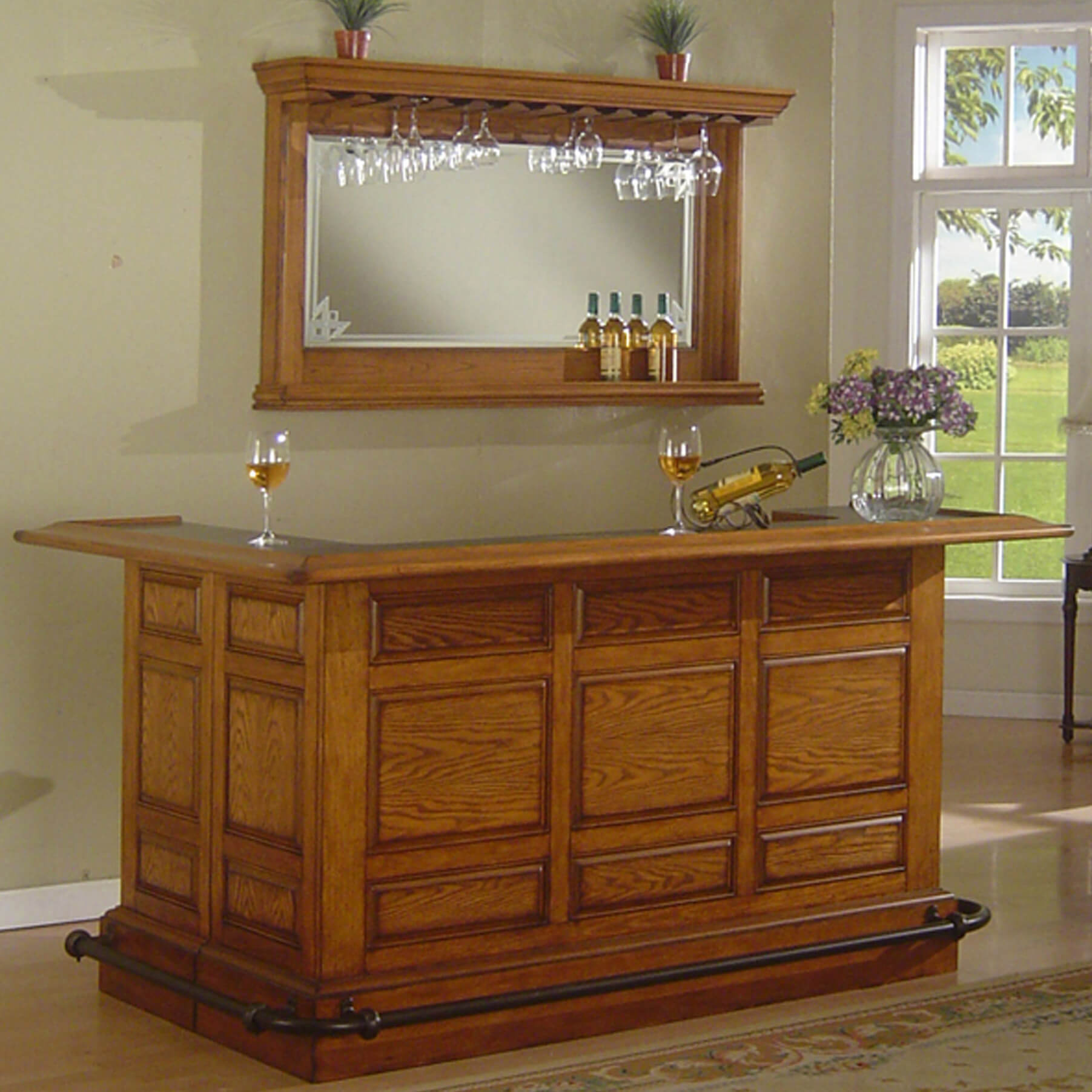 solid wood home bar with wrap around counter - Home Bar Designs For Small Spaces