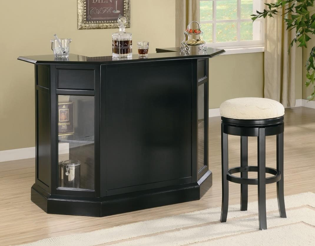 Front view of a black home mini bar. 30 Top Home Bar Cabinets  Sets   Wine Bars  ELEGANT   FUN