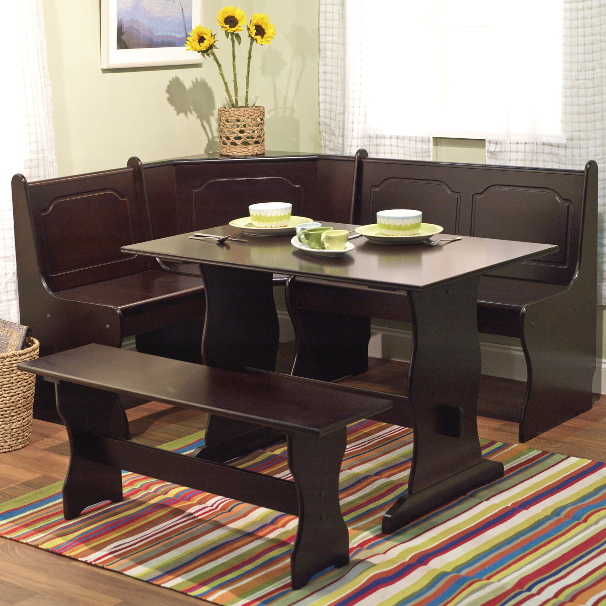 Dinette Bench Seating: 21 Space-Saving Corner Breakfast Nook Furniture Sets (BOOTHS