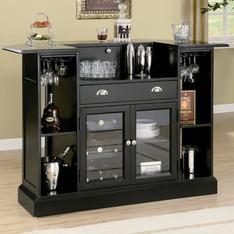 Rear View Of Home Bar With Extensive Storage And Glass faced Cabinets