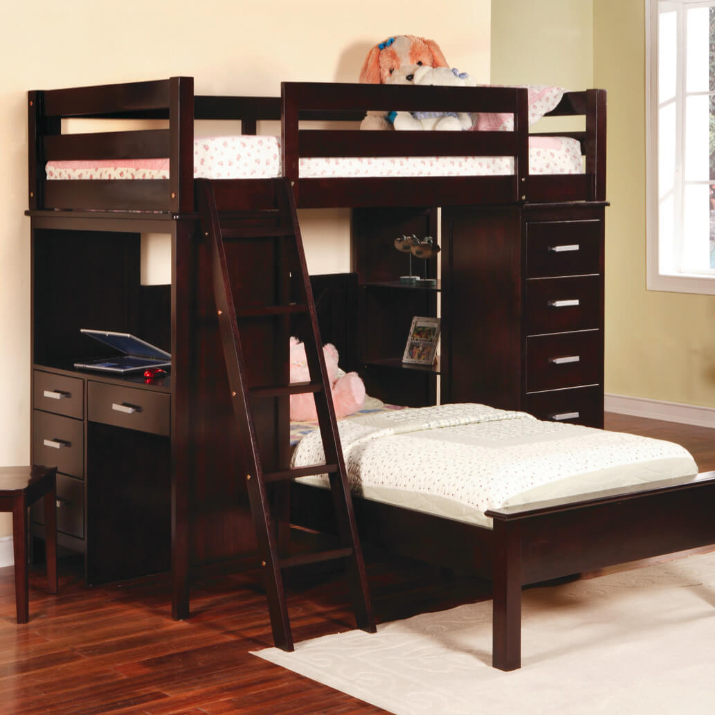 Twin Bunk Bed with Desk 1033 x 1033