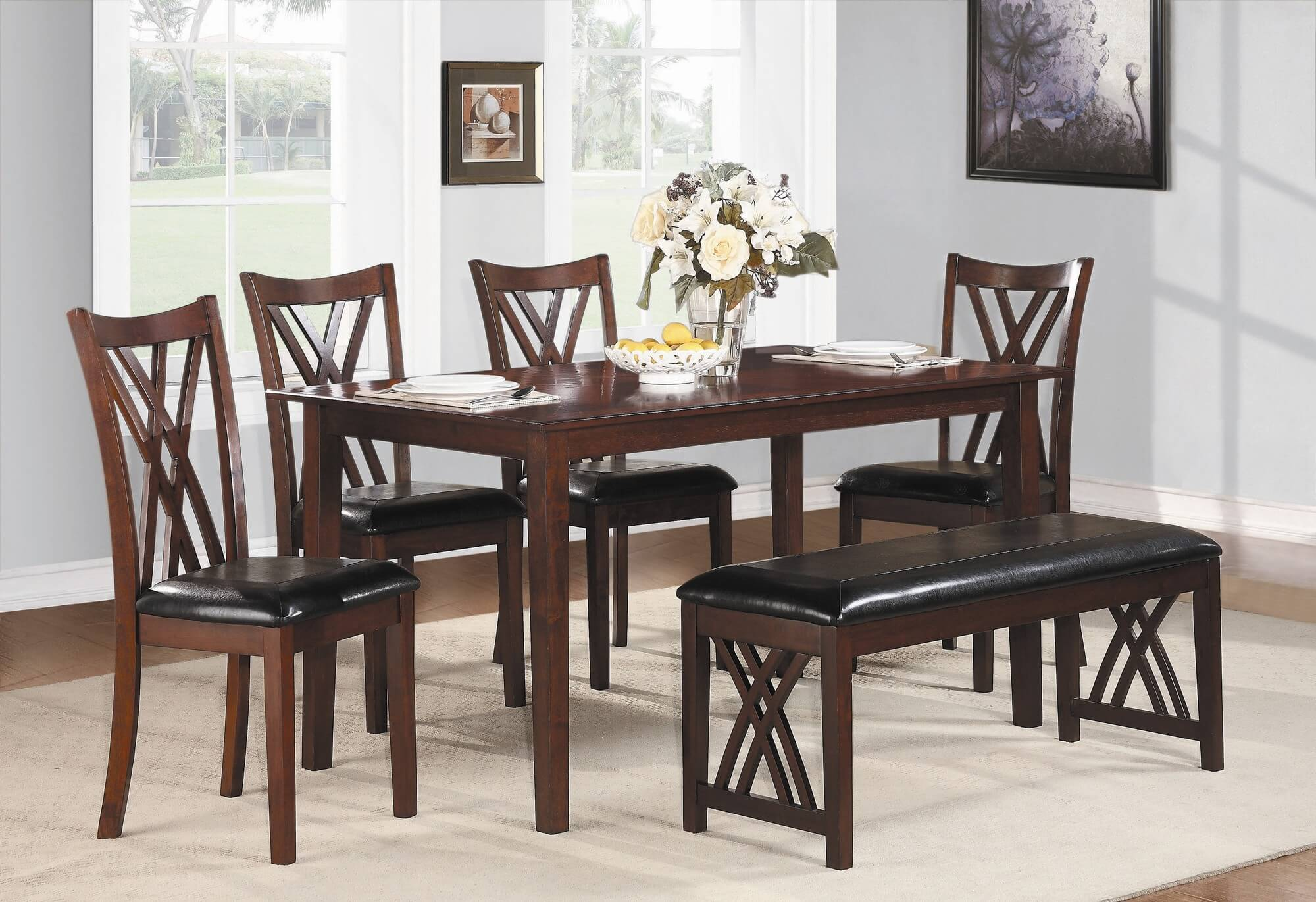Dining Set With Bench With A Cherry Finish And Upholstered Chairs And
