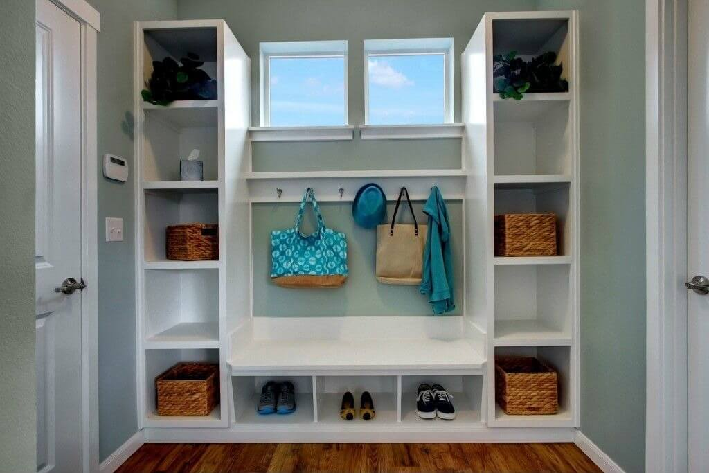 Built In White Cubby Holes With Bench And Storage Hangers Light Blue