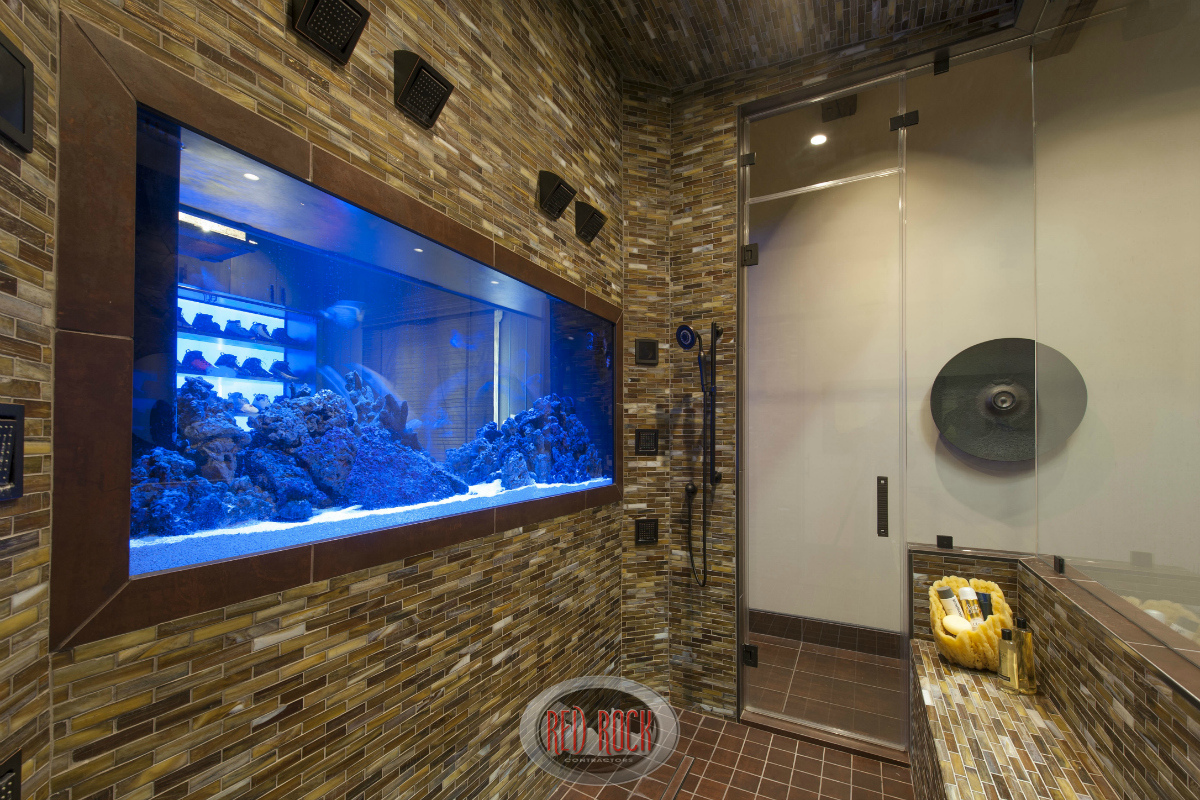 Close up of the aquarium that serves as a divider between the master bath and the walk-in closet.