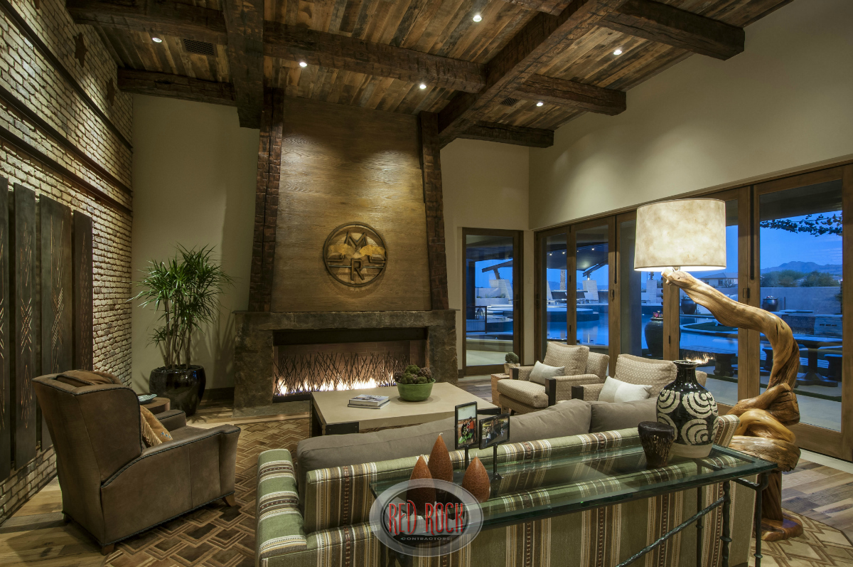 like the living room above the family room has an elevated wood beamed ceiling - Rustic Interior Design Ideas