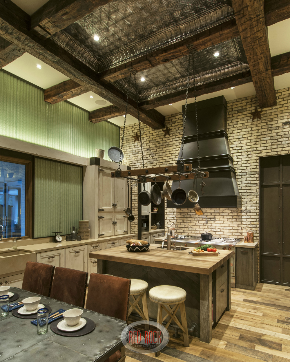 This Picture Of This Custom Rustic Kitchen Shows Off The Impressive Tin And  Exposed Wood Elevated