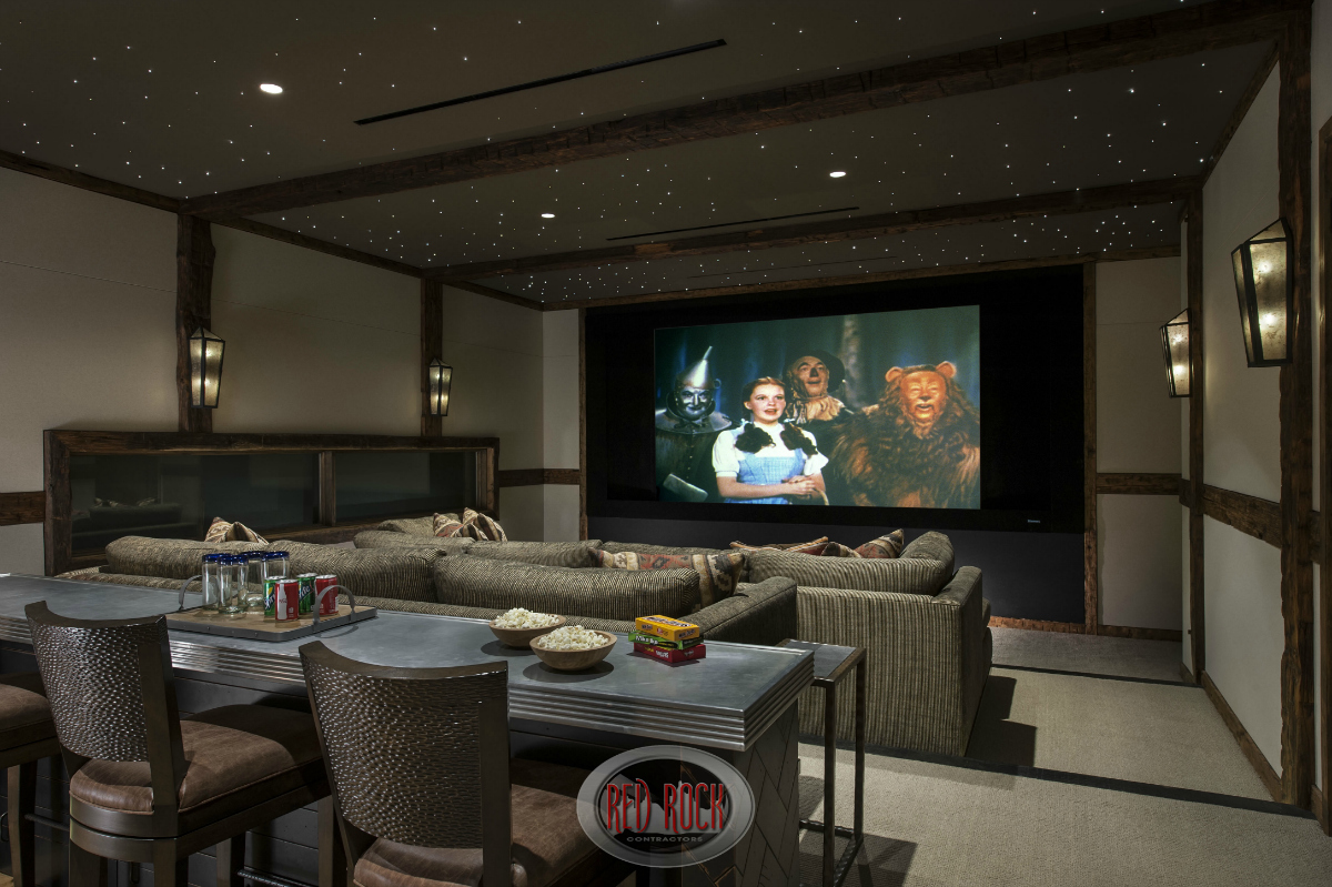 This Is The Two Tiered Home Entertainment Room With A Custom
