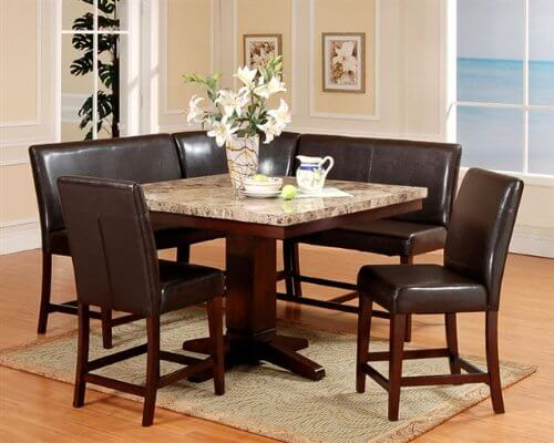 this piece espresso dining nook set includes an artificial marble amish corner breakfast nooks