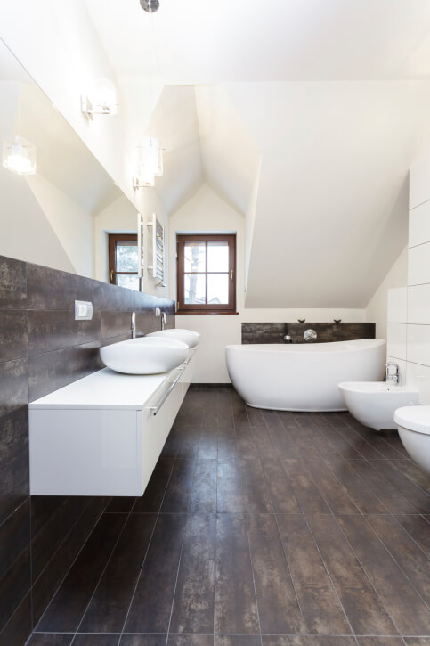 Brown And White Bathroom. Arched ceiling bathroom in dark brown and white  featuring lengthy double sink vanity 52 Master Bathroom Designs with Beautiful Woodwork