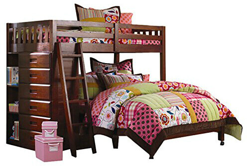 21 top wooden l shaped bunk beds with space saving features for Bunk bed with full on bottom