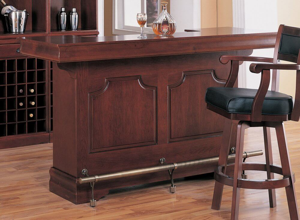 Cherry Wood Home Bar With Wine Rack