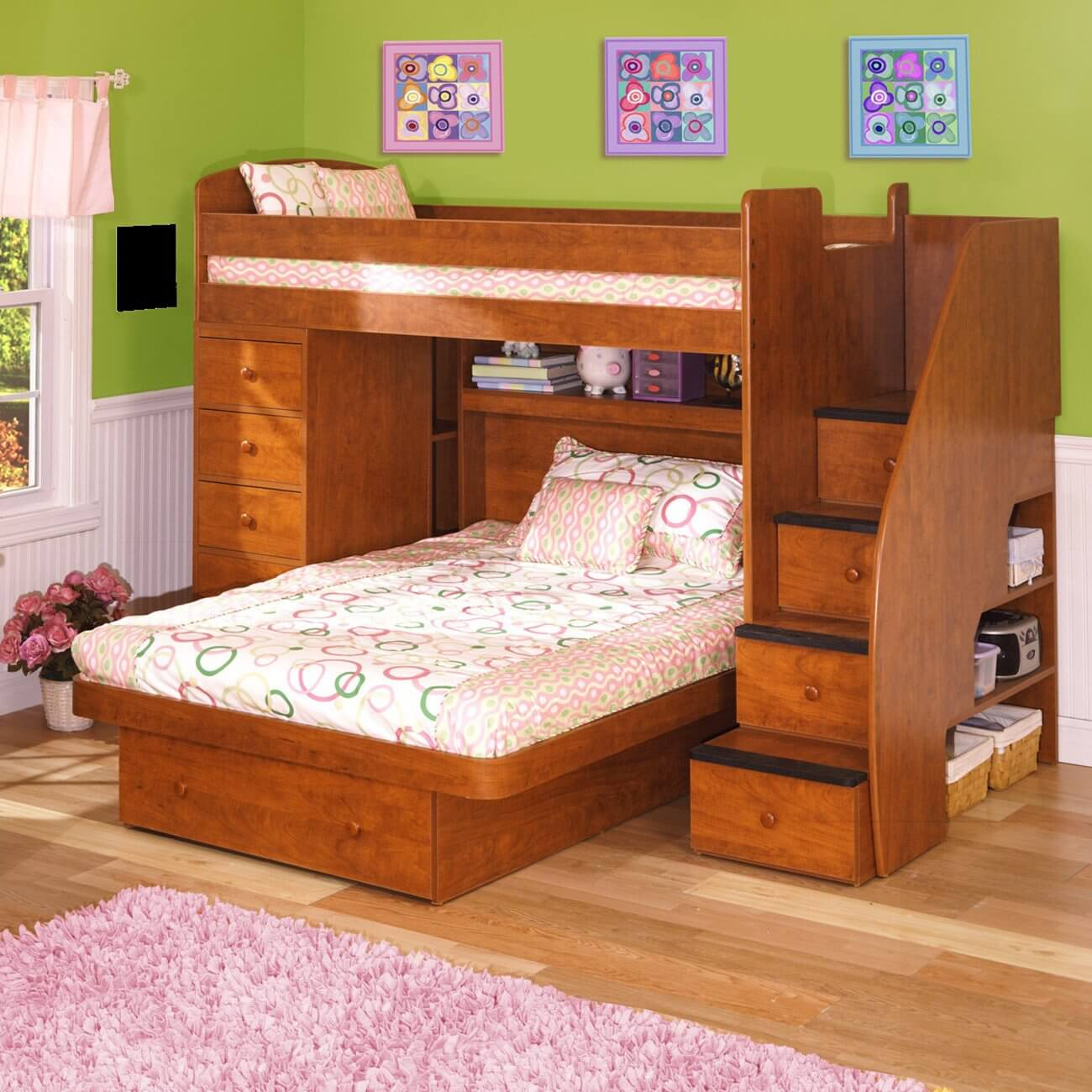 this engineered wood l shaped bunk is a twin over full size bed the