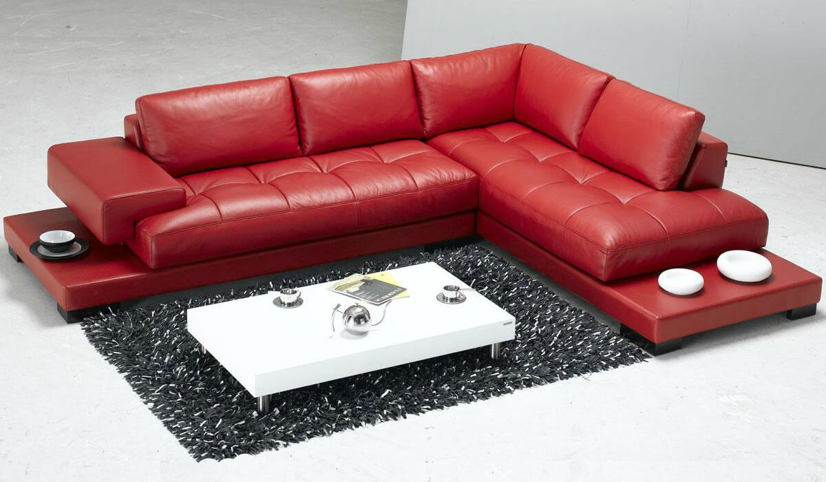 18 stylish modern red sectional sofas for Modern leather furniture