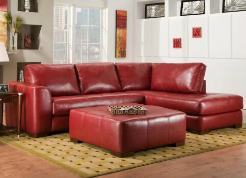 salem solid deep red leather sectional sofa - Deep Sectional Sofa