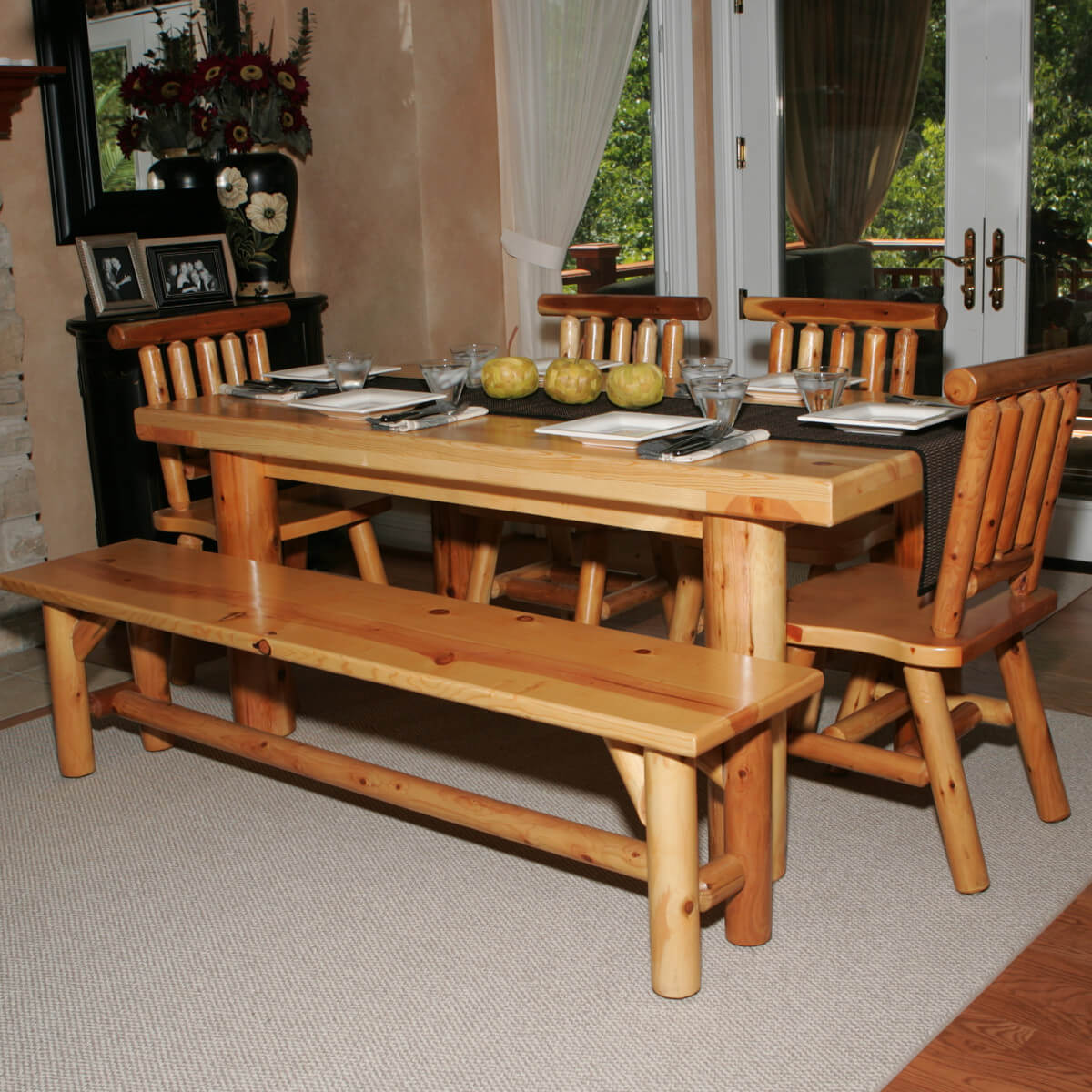 Here 39 S A Dining Table Set With Bench Perfect For The Log Cabin Or Home